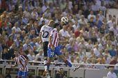 VALENCIA, SPAIN - SEPTEMBER 22 - FootBall Match of Spanish Professional Soccer League between Valencia C.F. vs AT. Madrid - Luis Casanova Stadium - Mathieu, Costa - Spain on September 22, 2010