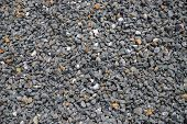 Grey Gravel Pile Closeup Photo For Background. Sharp Gray Stones In Pile For Construction. Road Or B poster