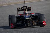 VALENCIA, SPAIN - FEBRUARY 2: F1 Winter Test - Kubica, Lotus Renault Team - on February 2, 2011 in C