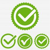 Green Tick Mark. Check Mark Icon. Tick Sign. Green Sign Approval Isolated On White Background. Vecto poster