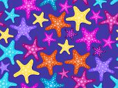 Starfishes Seamless Pattern. Colorful Starfish On A Dark Background. Vector Illustration poster