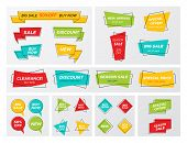 Set Of Flat Geometric Sale Banner In Trendy Concept. New Hipster Graphic Different Shape Promo Stick poster