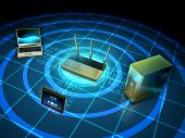 Wireless network connecting a laptop, workstation and tablet. 3D illustration. poster