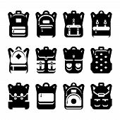 Black And White Backpack Silhouette Set. Backpack And Haversack, Bag And Luggage For Travel, Vector  poster