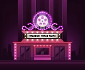 Cinema Theatre Building Exterior. Movie Entrance With Retro Light Marquee Banner Vector Illustration poster