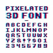 Video Game Pixelated 3d Font. 8 Bit Pixel Art Old School Latin Alphabet With Anaglyph Distortion Eff poster