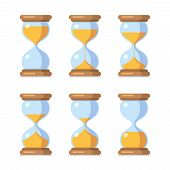 Cartoon Hourglass. Antique Sand Clock Sprite Sheet Animation. Vector Sand Timers Set. Clock And Time poster