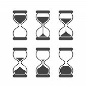 Sands Of Time, Hourglass Vector Isolated Symbols. Old Sand Clock Animated Vector Icons. Black Animat poster
