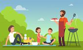 Family At Summer Picnic. People In Bbq Party Eating Food. Grill And Barbeque Outdoor Vector Concept. poster