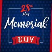 Memorial Day Remember & Honor, Blue Stars Greeting Card. Happy Memorial Day Vector Background Templa poster