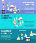 Chemistry Laboratory Research Lab And Science Technology, Biological Lab Experiment Vector Banners S poster