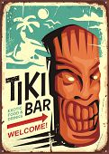 Tiki Bar Vintage Sign Concept With Tiki Mask And Tropical Landscape. Hawaii Cafe Restaurant Ad On Ol poster