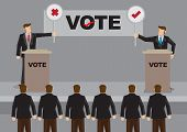 Two Election Candidates Standing Behind Podium And Holding Cross And Tick Symbol Signs In Front Of A poster