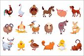 Set Of Farm Animals. Livestock And Poultry. Various Domestic Birds, Horses, Pig, Rabbit, Sheep, Cats poster