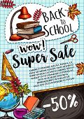 Back To School Sale Poster Or Special Promo Design Template Of Study Supplies And Stationery On Chec poster