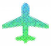 Halftone Dot Airplane Pictogram. Pictogram In Green And Blue Color Tinges On A White Background. Vec poster