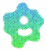 Halftone Circle Amoeba Pictogram. Pictogram In Green And Blue Color Tones On A White Background. Vec poster