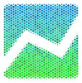 Halftone Dot Analytics Chart Pictogram. Pictogram In Green And Blue Shades On A White Background. Ve poster