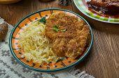 German Cuisine , Secret Jagerschnitzel - German Hunter Schnitzeltraditional Assorted Dishes, Top Vie poster