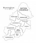 Modern City Map - Birmingham City Of England With Boroughs And Titles Uk Outline Map poster
