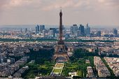 Aerial view of Eiffel Tower, Champ de Mars and La Defense district on background as seen from Montpa poster
