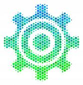 Halftone Dot Cogwheel Pictogram. Pictogram In Green And Blue Shades On A White Background. Vector Co poster