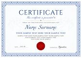 Certificate, Diploma Of Completion (design Template, White Background) With Blue Frame, Border, Ligh poster