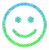 Halftone Dot Glad Smiley Pictogram. Icon In Green And Blue Color Tinges On A White Background. Vecto poster