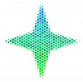 Halftone Dot Space Star Pictogram. Pictogram In Green And Blue Color Tinges On A White Background. V poster