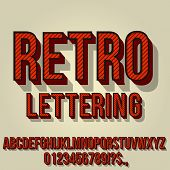 Retro Red Colored Vintage Text 3d Effects, Font Typeset Vector Lettering Set poster