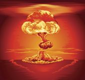 stock photo of nuke  - Illustration of a mushroom cloud following a nuclear explosion - JPG