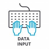 Data Input Thin Line Icon, Sign, Symbol, Illustation, Linear Concept Vector poster