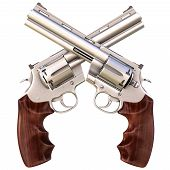 picture of crossed pistols  - two crossed revolvers - JPG
