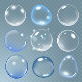 Realistic Soap Bubble Set On Transparent Background. Vector Soap Bubble Illustration. Soap Bubble Se poster