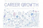 Illustration About Career Growth With Man On Ladder. Icons Related To Professional Development Troph poster