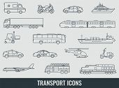 Transportation Icons Set. City Cars And Vehicles Transport. Car, Ship, Airplane, Train, Motorcycle,  poster