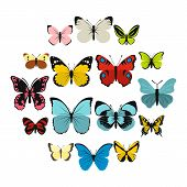 Flat Butterfly Icons Set. Universal Butterfly Icons To Use For Web And Mobile Ui, Set Of Basic Butte poster