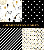 Graduation Pattern Collection. Black And Golden Vector Background For Graduation Party Or Ceremony I poster
