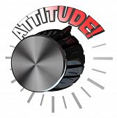 An amplifier or speaker type volume knob with the pointer turned up to the word Attitude to represen
