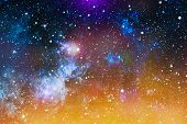 Deep Space Background With Stardust And Shining Star. Milky Way Cosmic Background. Star Dust And Pix poster