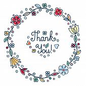 Thank You Handwritten Inscription. Retail Text In Round Floral Frame Rustic Folk Style. Round Floral poster