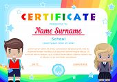 Certificate With The Little Girl And Boy Students In School Uniform, Rainbows,the Sky And Stars In A poster