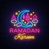 Ramadan Kareem Greeting Cards, Neon Sign. Design Template, Light Banner, Night Neon Advert. Ramadan  poster