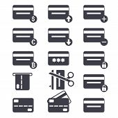 Credit Card Icon Set. Credit Card Payment Concept. Design Icon. Black Sign. poster