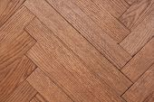 Part Of The Parquet In A Natural Wood Texture Laid Out On The Floor Like A Herringbone poster