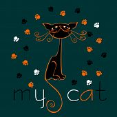 My Cat. Lettering. Illustration. Design For Postcards And Printing.funny Black Cat. Funny Good Conce poster