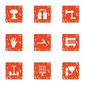 Contemporary Icons Set. Grunge Set Of 9 Contemporary Vector Icons For Web Isolated On White Backgrou poster
