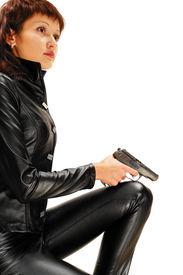 stock photo of girls guns  - Security girl with gun - JPG