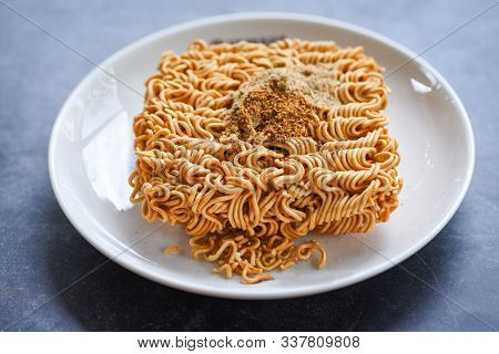 poster of Instant Noodles On Bowl With Seasonings Monosodium Glutamate / Noodle Thai Junk Food Or Fast Food Di