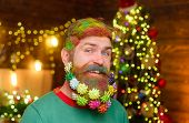 Decorated Beard. Merry Christmas And Happy New Year. Smiling Bearded Man With Decorated Beard. Chris poster